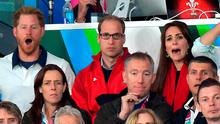 Prince Harry, Prince William, Duke of Cambridge and Catherine; Duchess of Cambridge attend the England v Wales match during the Rugby World Cup 2015