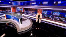 New home: Eileen Dunne in the new RTÉ News studio. Photos: Kyran O'Brien