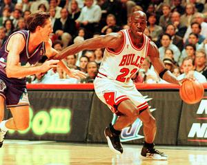 Michael Jordan won six NBA championships during an illustrious career with the Chicago Bulls. (Photo by VINCENT LAFORET / AFP) (Photo by VINCENT LAFORET/AFP via Getty Images)