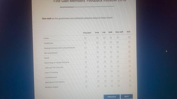 Taoiseach Leo Varadkar has issued a survey to Fine Gael members asking them what they want the party to prioritise