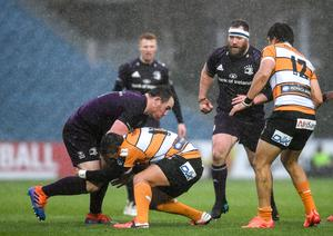 15 February 2020; Peter Dooley of Leinster is tackled by Rabz Maxwane of Toyota Cheetahs during the Guinness PRO14 Round 11 match between Leinster and Toyota Cheetahs at the RDS Arena in Dublin. Photo by Ramsey Cardy/Sportsfile