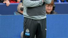 Newcastle manager John Carver watched his side crash to a 3-0 defeat against Leicester