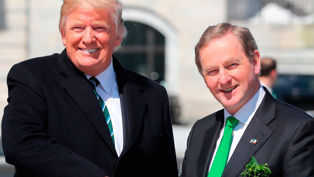 Taoiseach Enda Kenny and US President Donald Trump after a 'Friends of Ireland' lunch at the Capitol Building in Washington DC. Photo: Niall Carson/PA