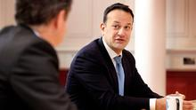 IN CHARGE: Taoiseach Leo Varadkar says 'something that we definitely don't need in the next couple of years is pay cuts — or welfare cuts or increases in income tax'. Photo: Steve Humphreys