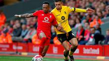 Aston Villa's Jack Grealish in action with Liverpool's Nathaniel Clyne