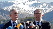 Lufthansa Chief Executive Carsten Spohr (right) and Germanwings Managing Director Thomas Winkelmann speak during a news conference near the memorial for the victims of the air disaster in the village of Le Vernet, near the crash site of the Germanwings Airbus A320 in French Alps. Reuters/Jean-Paul Pelissier