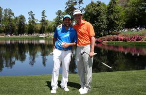 Francesco Molinari (L) of Italy and Gonzalo Fernandez-Castano of Spain pose during the Par 3 Contest. Photo: Getty Images
