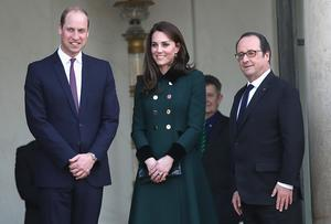 Prince William, Duke of Cambridge and Catherine, Duchess of Cambridge depart from Elysee Palace after meeting French President Francois Hollande during an official two-day visit to Paris on March 17, 2017 in Paris, France.  (Photo by Chris Jackson/Getty Images)
