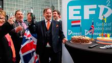 UK Independence Party (UKIP) member Raymond Finch (centre) and Scottish UKIP David Coburn (second left) take part in an event with members of the Europe and Freedom and Direct Democracy Group (EFDD) to celebrate Britain's exit from the EU. Photo: GETTY