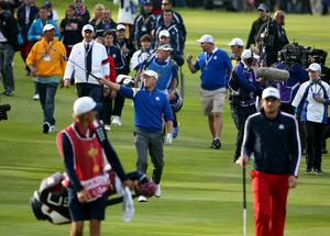 Europe's Jamie Donaldson walks down the fifteenth fairway after playing into the green during the Singles matches on day three of the 40th Ryder Cup at Gleneagles Golf Course, Perthshire. PRESS ASSOCIATION Photo. Picture date: Sunday September 28, 2014. Photo credit should read: Andrew Milligan/PA Wire. RESTRICTIONS: Use subject to restrictions. Editorial use only. No commercial use. Call +44 (0)1158 447447 for further information.
