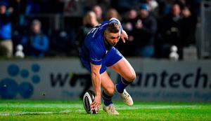 Jordan Larmour of Leinster scores his side's first try during the Guinness PRO14 Round 13 match between Leinster and Ulster at the RDS Arena in Dublin. Photo by Seb Daly/Sportsfile