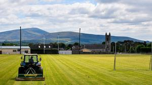 Groundsman Austin Kinsella attends to the pitch at Fenagh GAA Club, Co Carlow recently in preparation for a return to football and hurling. Photo: David Fitzgerald/Sportsfile