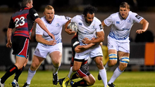 Leinster's Isa Nacewa is tackled by Neil Cochrane during the Guinness PRO12 encounter at Meggetland, Edinburgh, Scotland.
