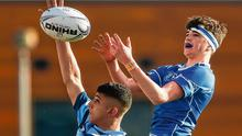 Castleknock College's Wali Khwaja contests a line-out against Lucca Jennings of St Mary's College in their Leinster Schools Junior Cup clash yesterday. Photo: Daire Brennan/Sportsfile