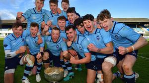 Simply the best: St Michael's College celebrate following their victory against Gonzaga College in last year's Leinster Schools Senior Cup final at the RDS. Photo by Ramsey Cardy/Sportsfile