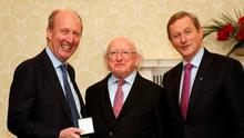 Shane Ross pictured with Michael D Higgins and Enda Kenny Photo: Colin Keegan, Collins Dublin