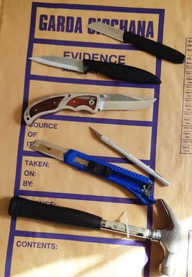 Knives confiscated by Gardai
