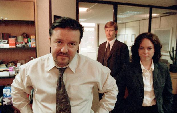 Ricky Gervais as David Brent in the programme 'The Office.'