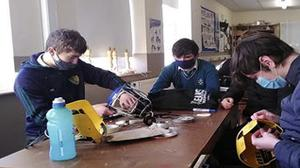 TY students from Charleville CBS Secondary School who won the Sustainability Award working on their helmets.