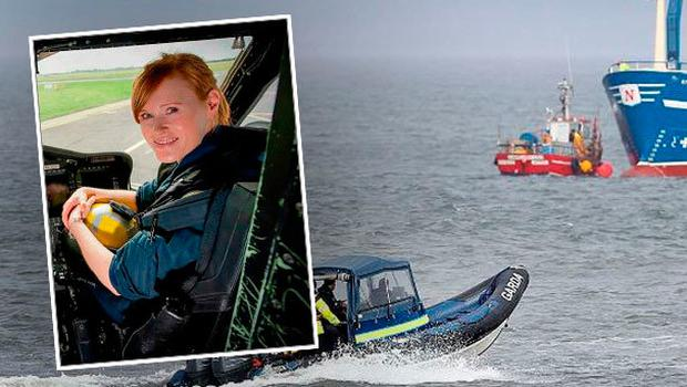 The search continues for three missing Coast Guard members. Inset: Tragic Captain Dara Fitzpatrick died in incident