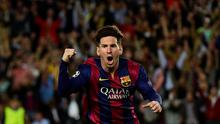 Barcelona's Argentinian forward Lionel Messi celebrates after scoring during the UEFA Champions League football match FC Barcelona vs FC Bayern Muenchen at the Camp Nou stadium in Barcelona (Getty Images)