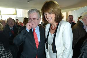 Tanaiste Eamon Gilmore and Labour Party Deputy Leader Joan Burton TD at the Labour Party Dublin European Selection Convention in Liberty Hall, Dublin. Photo: Barbara Lindberg.