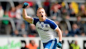24 May 2015; Colin Walshe, Monaghan, turns to celebrate after scoring his sides last point. Ulster GAA Football Senior Championship Quarter-Final, Cavan v Monaghan. Kingspan Breffni Park, Cavan. Picture credit: Oliver McVeigh / SPORTSFILE