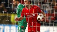 Rickie Lambert celebrates scoring his first Champions League goal for Liverpool in their Champions League clash with Ludogorets at the Vassil Levski Stadium. Photo: REUTERS/Stoyan Nenov