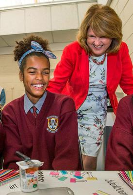 Chloe Gabriel pictured with Tánaiste Joan Burton at the Kelloggs Breakfast Club Awards at Blakestown Community College, Blanchardstown. Picture: Mark Condren