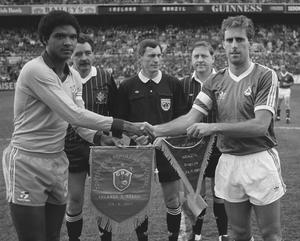Ireland captain Mick McCarthy shakes hands with Brazil captain Geraldao before the international friendly at Lansdowne Road on May 23, 1987. Photo: Ray McManus/Sportsfile