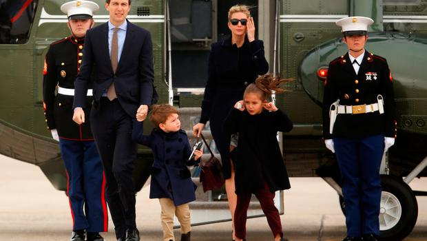 U.S. President Donald Trump's daughter Ivanka Trump (C) and her family, husband Jared Kushner (L) and children Joseph and Arabella Kushner, arrive aboard the Marine One helicopter with the president to board Air Force One for travel to Florida from Joint Base Andrews, Maryland, U.S. March 3, 2017. REUTERS/Jonathan Ernst