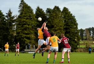James McGrail, Leitrim, in action against Fiontán O'Curraoin, Galway
