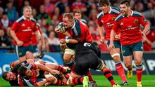A battered and bruised Shane Buckley in action for Munster