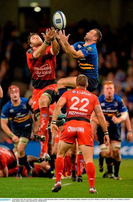 19 December 2015; Dave Kearney, Leinster, contests a high ball against Duane Vermeulen, Toulon. Picture credit: Matt Browne / SPORTSFILE
