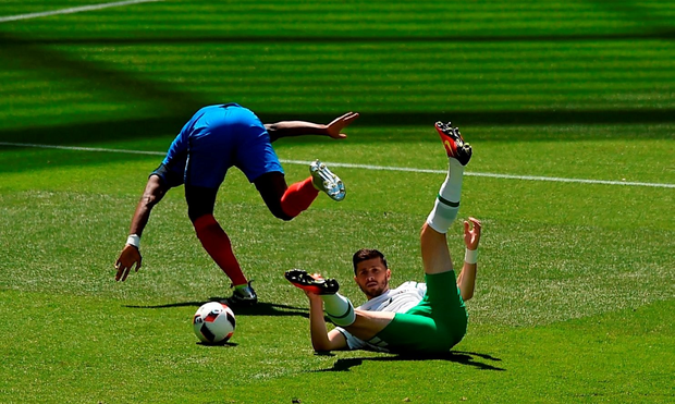 Shane Long is fouled by Paul Pogba for a penalty, which Robbie Brady converted. i. Photo by Ray McManus/Sportsfile