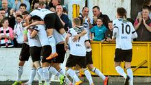 26 June 2015; Stephen O'Donnell. hidden, Dundalk, celebrates after scoring his side's first goal with team-mates. SSE Airtricity League Premier Division, Dundalk v Limerick FC, Oriel Park, Dundalk, Co. Louth. Picture credit: David Maher / SPORTSFILE