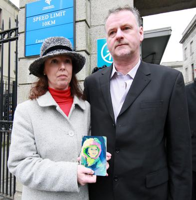 Colleen and Kevin Worthington outside the Four Courts yesterday after the High Court settlement.