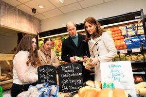 Department of Foreign Affairs and the British Embassy handout photo of the Duke and Duchess of Cambridge visiting a Londis supermarket in  Prosperous, Co Kildare, during their three day visit to the Republic of Ireland. PA Photo. Issue date: Wednesday March 4, 2020. See PA story ROYAL Cambridge. Photo credit should read: Julien Behal Photography/PA Wire