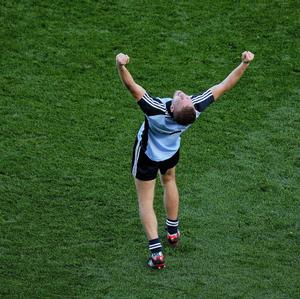 22 September 2013; Jonny Cooper, Dublin, celebrates at the end of the game. GAA Football All-Ireland Senior Championship Final, Dublin v Mayo, Croke Park, Dublin. Picture credit: Dire Brennan / SPORTSFILE