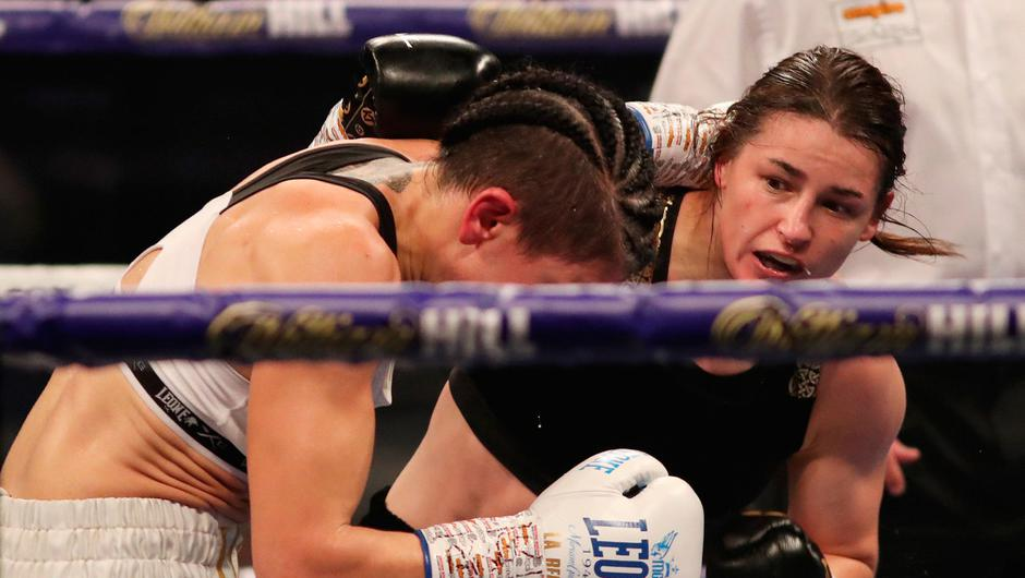 Katie Taylor was too strong for Miriam Gutierrez at Wembley Arena. Photo by Mark Robinson / Matchroom Boxing via Sportsfile