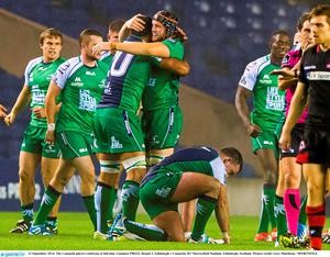 The Connacht players celebrate at full-time