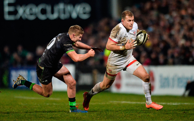 Will Addison of Ulster in action against Conor Fitzgerald of Connacht. Photo by Oliver McVeigh/Sportsfile