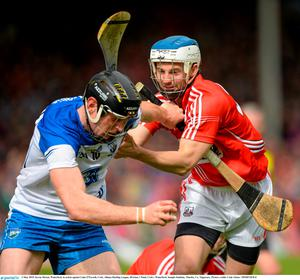 3 May 2015; Kevin Moran, Waterford, in action against Luke O'Farrell, Cork. Allianz Hurling League, Division 1 Final, Cork v Waterford. Semple Stadium, Thurles, Co. Tipperary. Picture credit: Cody Glenn / SPORTSFILE