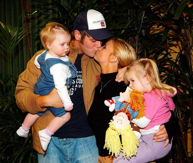 Brian McFadden and ex-wife Kerry Katona with Molly and Lilly-Sue in 2004