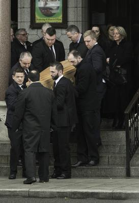 the remains of Cathal Sweeney leave the Church of St. Paul of the Cross during his funeral mass at Mount Argus, Dublin. Photo: Gareth Chaney Collins