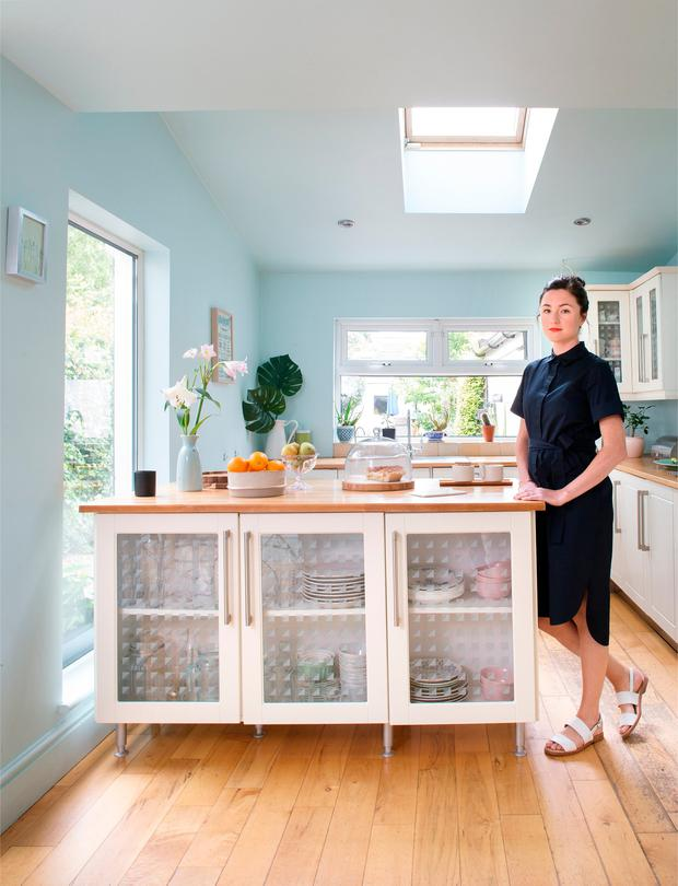Kate's kitchen, which had already been refurbished by the previous owners and is full of light. She hopes to change it in the future, but for the moment, it works