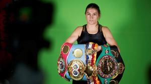 Katie Taylor shows off her collection of belts ahead of her undisputed lightweight championship bout against Delfine Persoon tonight. Photo: Matchroom Boxing via Sportsfile