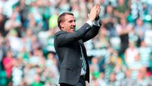 Brendan Rodgers applauds the Celtic supporters after their 5-1 win over Rangers earlier this season. The diminishing of their great rivalry is of no benefit to the Hoops. Photo: Steve Welsh/Getty Images