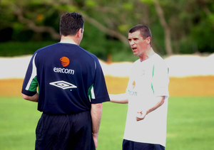 Roy Keane and Packie Bonner have words in Saipan