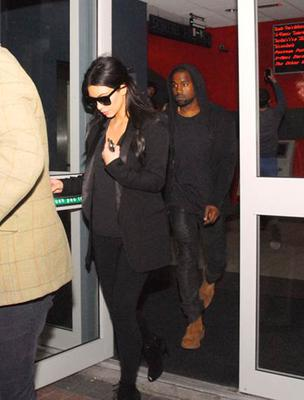 Kim Kardashian and Kanye West at the cinema in Laois